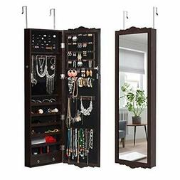 LANGRIA 10 LED Jewelry Armoire with Mirror, Lockable Wall-Mo