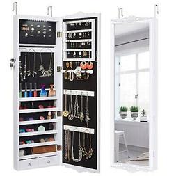 LANGRIA 10 LEDs Wall Door Mounted Jewelry Cabinet Lockable J