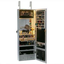 "42.5"" Mirrored Jewelry Cabinet Armoire Storage Organizer Wal"