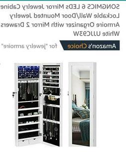 SONGMICS 6 LED Jewelry Cabinet Lockable Wall Door Mounted Je