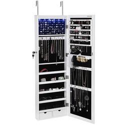 SONGMICS 6 LEDs, Jewelry Cabinet Lockable Wall Door Mounted