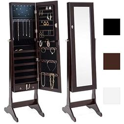 Best Choice Products 6-Tier Standing Mirror Lockable Storage