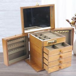 Antique Vintage Armoire Jewelry Box 5 Drawer Storage Chest S