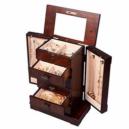 Armoire Jewelry Cabinet Box Storage Chest Stand Organizer Du