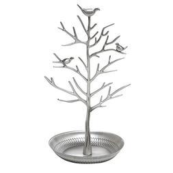 Inviktus Silver Birds Tree Jewelry Stand Display Earring Nec