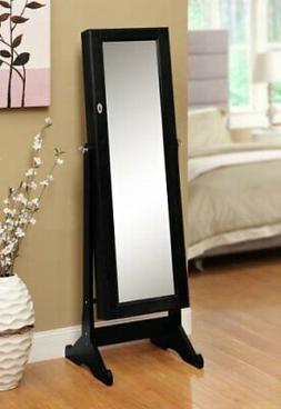 eHomeProducts Black Mirrored Jewelry Cabinet Amoire W Stand