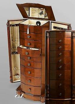 Wood Jewelry Armoire Box Storage Chest Bedroom Furniture Vic