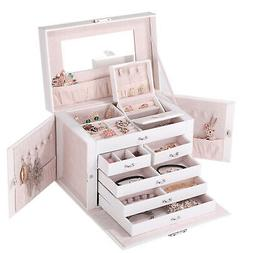 White Jewelry Box Leather Rings Bracelets Case Cabinet Armoi