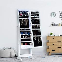 Homevibes Jewelry Cabinet Jewelry Armoire 6 LED Lights Mirro