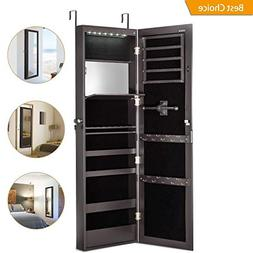 Jewelry Cabinet Armoire with Mirror Led Light Wall Door Moun