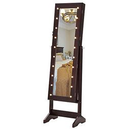 SONGMICS LED Jewelry Cabinet Armoire with Mirror, Lockable J