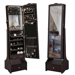 SONGMICS LED Jewelry Cabinet Lockable Jewelry Armoire with F