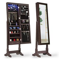 Cloud Mountain Jewelry Cabinet Standing Mirror 6 LEDs Jewelr