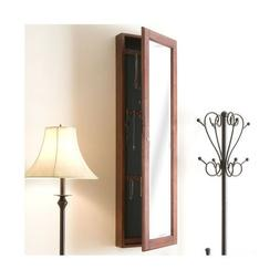 Cherry Brown Wall Mount Jewelry Armoire Mirror Home Storage