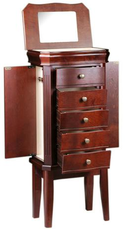 Diplomat Cherry Wood Finish Jewelry Armoire Charging Station
