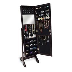 GLS Dark Brown Mirrored Jewelry Armoire Floor Standing or Wa