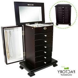 Dark Brown Wooden Jewelry Armoire Box Organizer Storage 6 Dr