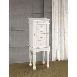Dazzling Jewelry Armoire With Felt Lined Doors And Drawers,