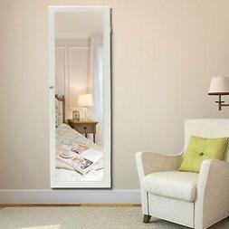 Door Mount Mirrored Jewelry Cabinet Lockable Armoire Organiz