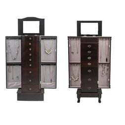 Durable Jewelry Cabinet Armoire Box Storage Chest Stand Orga