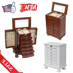 Extra Large Wooden Jewelry Box Cabinet Armoire Ring Necklace