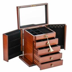 Extra Large Wooden Jewelry Case Cabinet Armoire Ring Necklac