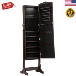 Free Stand Lockable Jewelry Cabinet Mirror Armoire LED Light