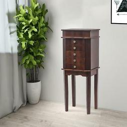 Free Standing Jewelry Cabinet Armoire Storage Chest Rack Org