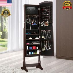 Free Standing Lockable Jewelry Cabinet Armoire LED Light Mir
