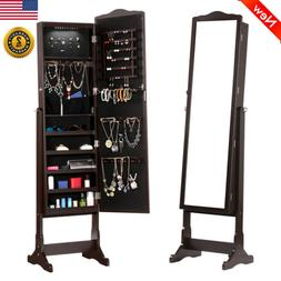 Free Standing Lockable Jewelry Cabinet Mirror Armoire LED Li