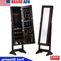 Free Standing Mirror Lockable Mirrored Jewelry Cabinet Armoi