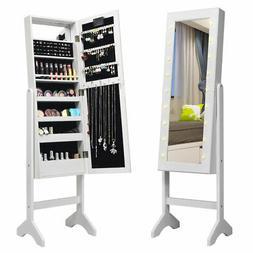 Free Standing Mirrored Jewelry Cabinet Armoire Organizer w/
