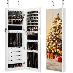 LED Armoire Large Jewelry Box Organizer Mirror Wall Door Mou