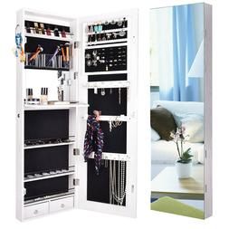 Full Length Mirror Jewelry Cabinet Wall Door Mounted Storage