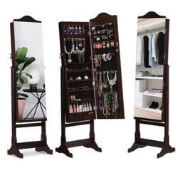 Full Length Mirrored Jewelry Cabinet Armoire Mirror Organize