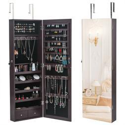 full mirror wall door mounted jewelry cabinet
