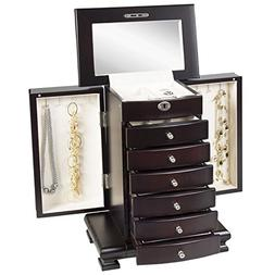 Handcrafted Wooden Jewelry Expresso Box Safe-Keep Organizer
