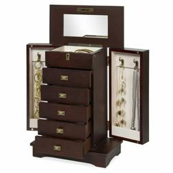 Handcrafted Wooden Jewelry Box Organizer Wood Armoire Cabine
