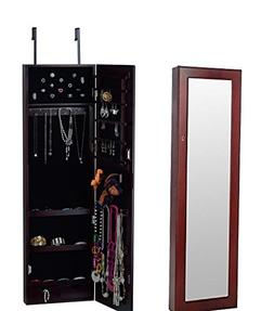 BTEXPERT HandMade Wooden Jewelry Armoire Cabinet Wall mount