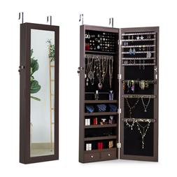 Hanging Mirrored Jewelry Cabinet Wall Door Mounted Armoire S