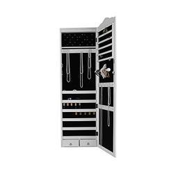 Mind Reader HMLED14-WHT Hanging Cabinet, 14 LED Lights, Wall