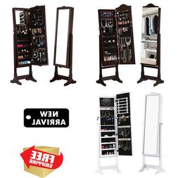 Home Lockable Standing Jewelry Cabinet Armoire Storage Organ