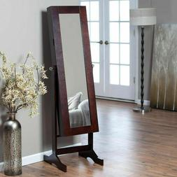 Jewelry Armoire and Full-Length Tilting Mirror in Espresso B