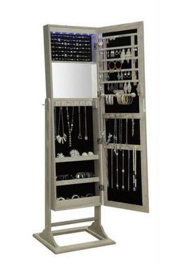 Jewelry Armoire Standing Locks Organizer Storage Light Up Ru