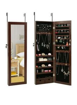 Jewelry Armoires Cabinet Lockable Wall Door Mounted Organize