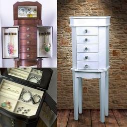 Jewelry Box Armoire Mirrored Floor Standing Ring Necklace Or