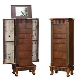 Jewelry Cabinet Armoire Box Storage Chest Stand Organizer Wo
