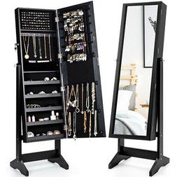 Jewelry Cabinet Stand Mirror Armoire Lockable Organizer Larg