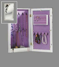 Jewelry Mirrored Cabinet White Wood Armoire Box Organizer