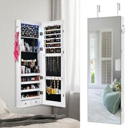 Jewelry Organizer Armoire Chest Wall Door Mounted Mirror Loc
